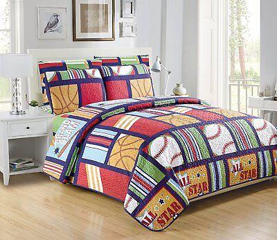 Fancy Linen 5pc Boys Twin Size Sports Green Navy Blue Bedspread Quilt Set New