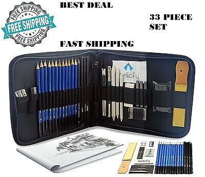 Professional Drawing Supplies Set Sketch Pencil Art Kit Tools Student Gift 33PCs