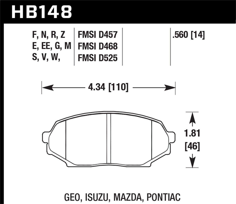 Impulse Hawk Blue 9012 Brake Pads Front For HB148E.560 Storm Miata