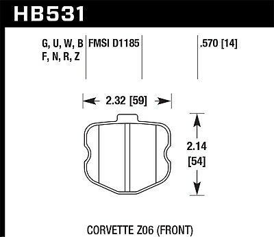 Disc Brake Pad Set-Z06 Front Hawk Perf HB531N.570 fits 10-11 Chevrolet Corvette for sale  Mississauga