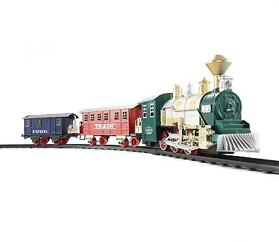 Classic Toy Train Set with Realistic Smoke & Sounds (3 Cars) 13pcs