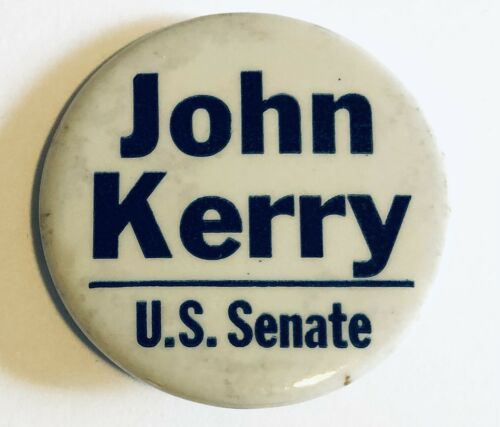 "Rare 1 3/4"" John Kerry for U.S. Senate Campaign Political Pin Pinback Button"