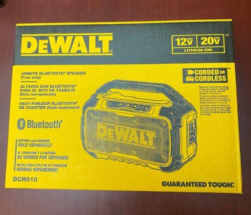 NEW DeWALT DCR010 12-Volt/20-Volt Corded/Cordless Dual Speaker Bluetooth Speaker