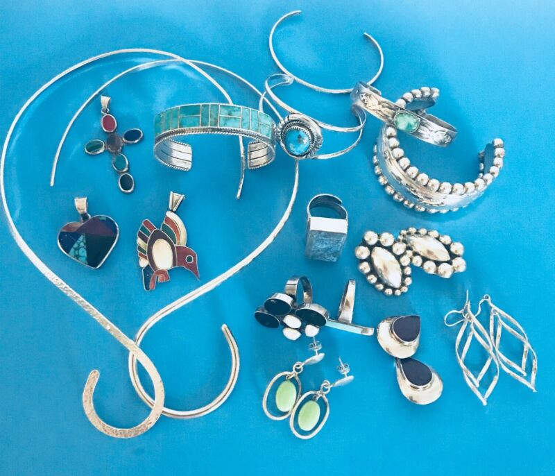 Sterling silver jewelry lot turquoise Taxco cuff bracelets pendant rings 300 g