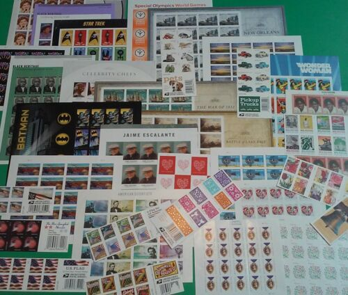 Unused / New 100 Assorted Mixed Designs FOREVER US PS Postage Stamps. FV $55.00