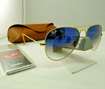 RAY-BAN RB3025 001/3F GOLD FRAME LIGHT BLUE GRADIENT AVIATOR SUNGLASSES 58MM (Aviator Blue Gradient)