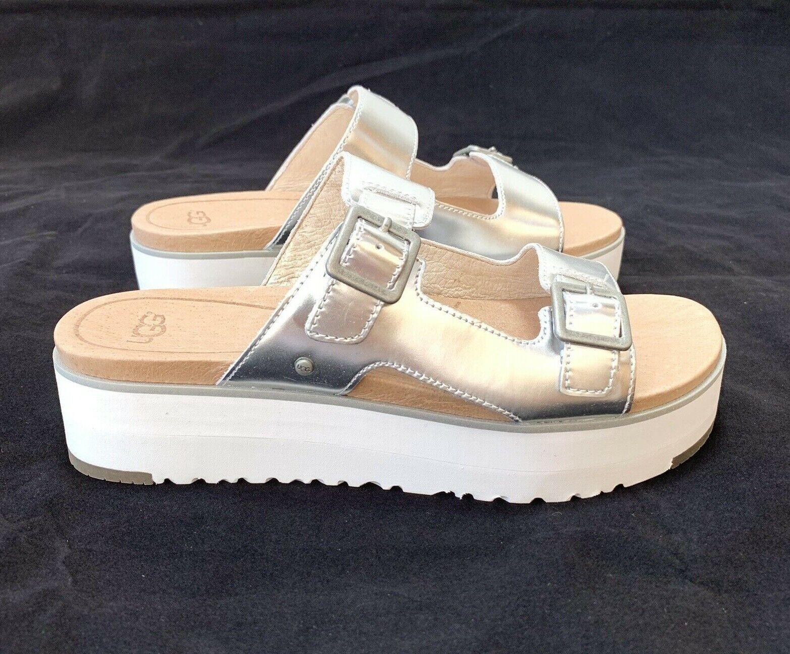 Ugg Women's Ardyne Metallic Silver Platform Wedges Flip Flop