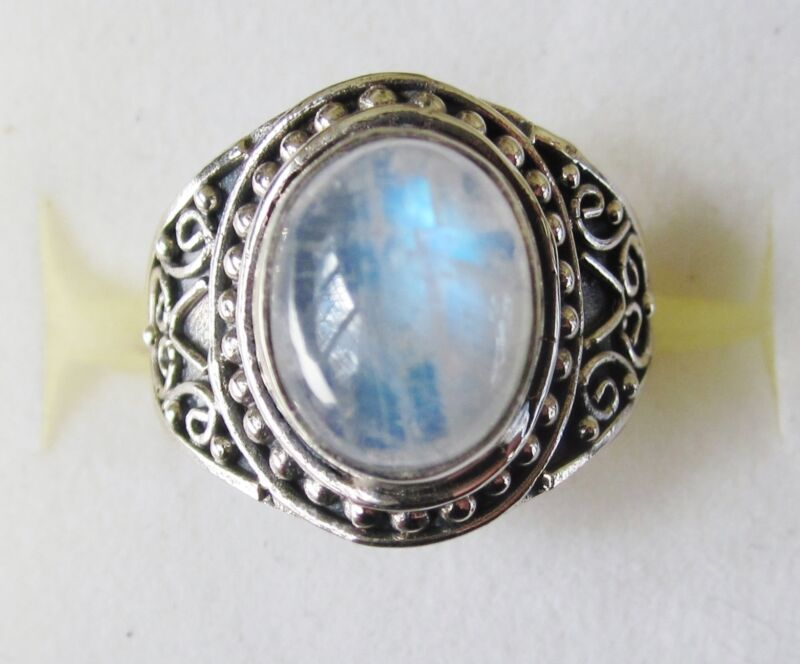 Rainbow Moonstone Artisan Designed Ring in 925 Sterling Silver size 6