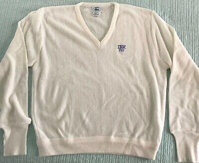 Vintage White IZOD Lacoste Men's V-Neck Golf Casual Sweater IBM PS/2 Size Large
