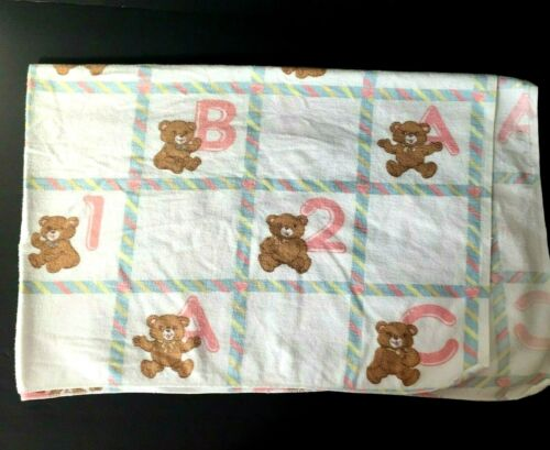 VINTAGE White Pastel Baby Blanket Receiving FLANNEL Teddy BEAR ABC 123 Security