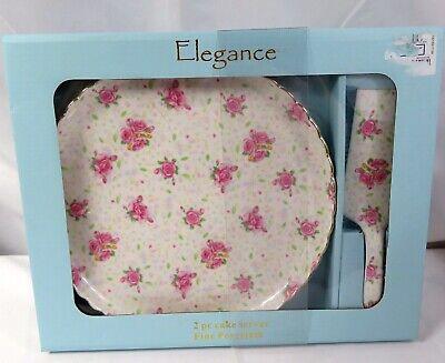 Elegance 2 pc Cake Server Plate Fine Porcelain Pink rose Floral Gold Tone Trim