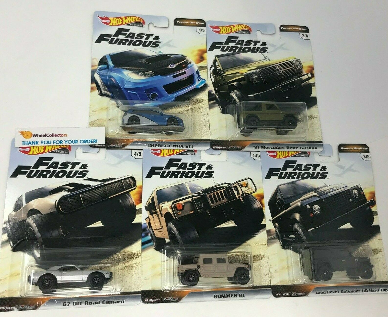 5 Car Set * 2019 Hot Wheels Fast & Furious OFF-ROAD Case D