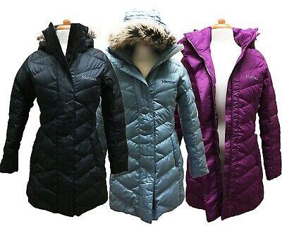 Marmot Womens Faux Fur Hooded Long Down Varma Parka Jacket Coat, (Down Fur)