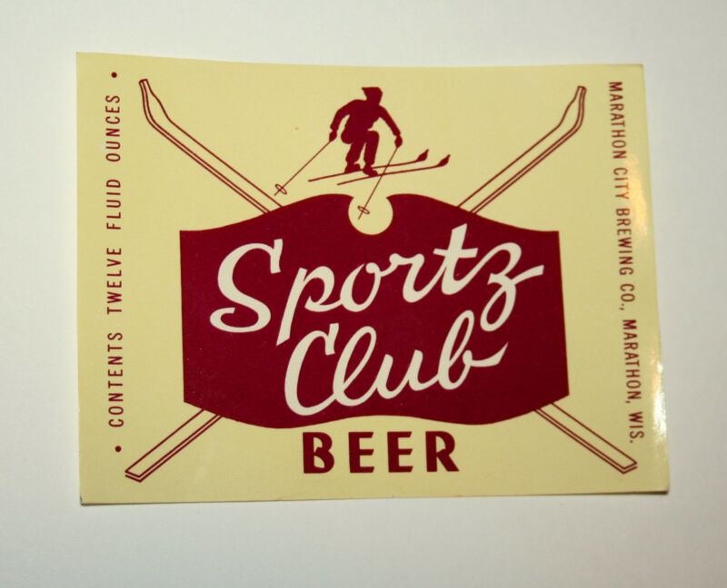 4 Vintage Sportz Sports Club Beer Bottle Ski Label Brewing Unused NOS New 1950s