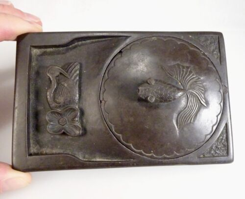 Chinese Carved Calligraphy Ink Stone Inkstone with Carp Fish Finial - 58599