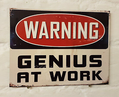 warning genius at work spark plug Retro metal Aluminium Sign vintage