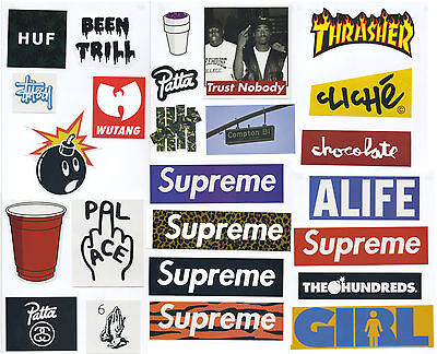 25 PCS SUPREME BOX LOGO MIXED LOT STICKERS Skateboard Decal Streetwear Real Size