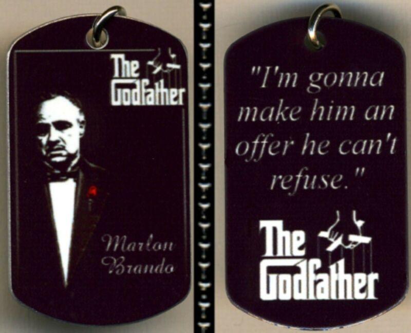 "The Godfather Marlon Brando Photo Aluminum Dog Tag Necklace w/30"" Ballchain NEW"