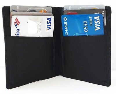 Black Men's Genuine Leather 6 Credit Cards Front Pocket Bifold Thin Wallet Gift