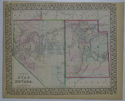 1870 Genuine Antique Map of Arizona & New Mexico. Hand colored. S A Mitchell Jr