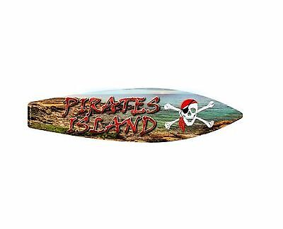 Pirate Wall Decor (Pirate Island Metal Novelty Surfboard Sign 17