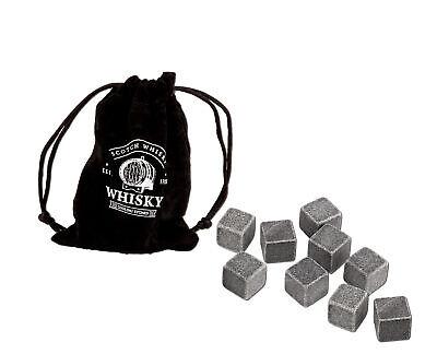 9x Whisky wiederverwendbare Kühlsteine Steine Eiswürfel Kühlwürfel + Samtbeutel