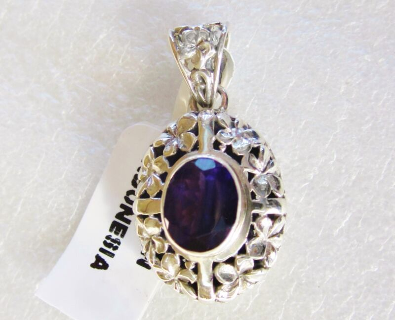 Oval Amethyst Pendant in 925 Sterling Silver Flower Decorated Setting