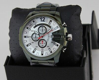 NEW AUTHENTIC DIESEL MEGA CHIEF GREEN SILVER CHRONOGRAPH MENS DZ4478 WATCH