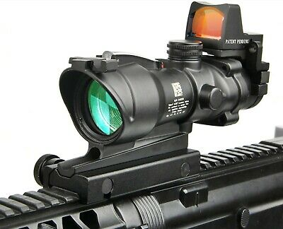 4x32 ACOG Tactical AR LED Illuminated Rifle Scope Mini RMR Red Dot Sight 20mm 15