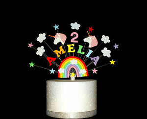 Rainbow unicorn birthday cake topper,  personalised name and age