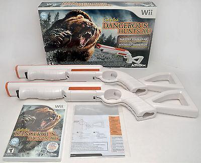New 2 Gun Bundle Wii Wii U Cabelas Dangerous Hunts 2013 Game Set Top Shot Bear