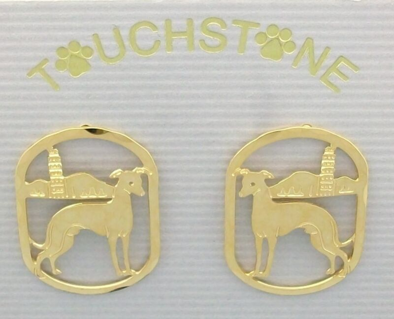 Italian Greyhound Jewelry Gold Post Earrings by Touchstone