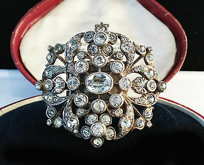A Rare Georgian 'black dot' White Paste foil backed Silver Brooch.  Circa 1790