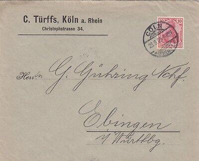 KÖLN, Briefumschlag 1905, C. Türffs