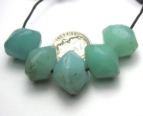 """5 RARE GORGEOUS OLD SEA FOAM BOHEMIAN """"VASELINE"""" ANTIQUE BEADS AFRICAN TRADE~"""