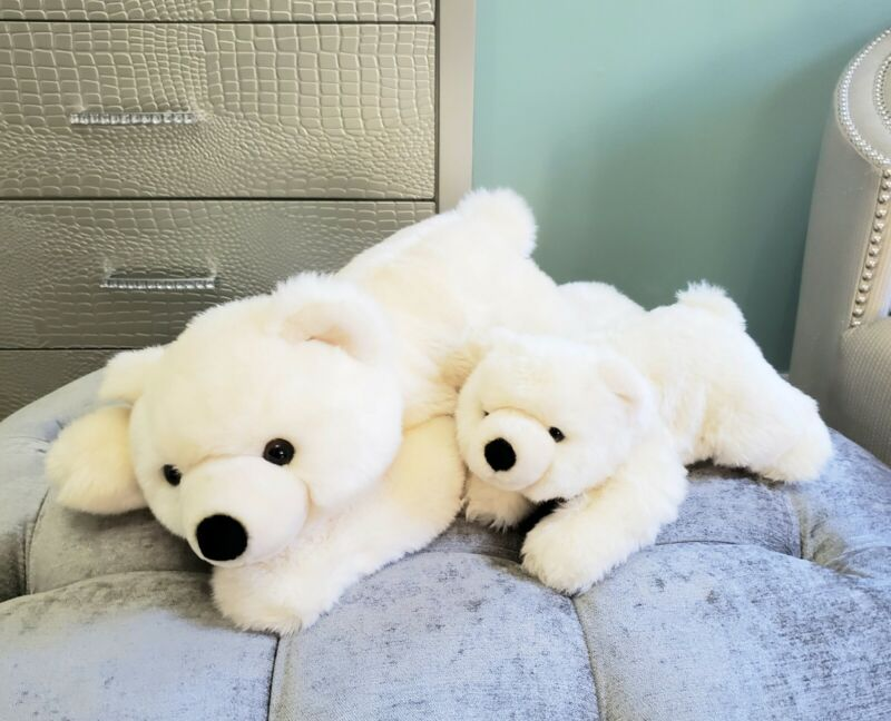 Sea World Polar Bear Mom and Baby Cub Plush Stuffed Animal Set JUMBO 20""