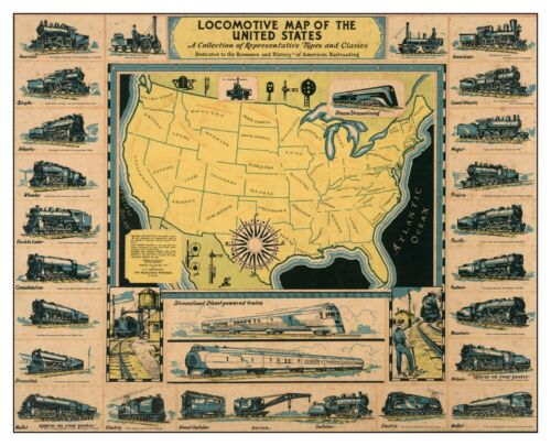 16x20 1935 US Railroad History PHOTO Poster Map Electric Steam Locomotives Train