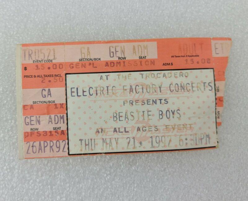 BEASTIE BOYS Concert Ticket Stub-1992- Electric factory PHILADELPHIA