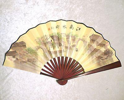 "Along the Riverside Village Chinese Asian 13"" Large Wall Decor Folding Hand Fan"