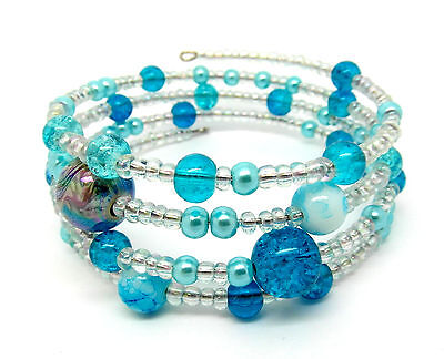 Memory Wire Bracelet Jewellery Making Kit Turquoise with Instructions K0008L
