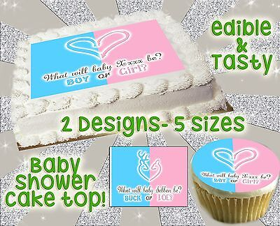 Baby Gender Reveal Cake Ideas (Heart buck or doe deer cake topper Baby shower picture gender reveal edible)