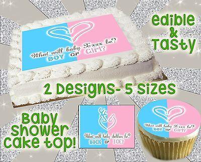 Heart buck or doe deer cake topper Baby shower picture gende