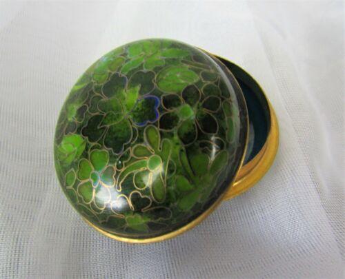 "Vintage Chinese Cloisonne Pill Trinket Box Brass Enamel Round 1.25""x2"" Green"