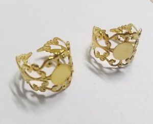 Adjustable-Rings-Blank-Rings-Ring-Blanks-Gold-Brass-Filigree-Filigree-5pc-10pcs