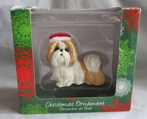 SANDICAST CHRISTMAS ORNAMENT GOLD & WHITE SHIH TZU DOG PUPPY