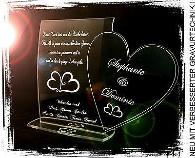 1 Aufsteller Schild & Herz  inkl. Wunschtextgravur Hochzeit Liebe Valentinstag