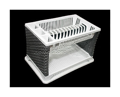 Modern Two 2 Layer Plastic Dish Drainer Rack Utensil Cutlery White Shelf Silver