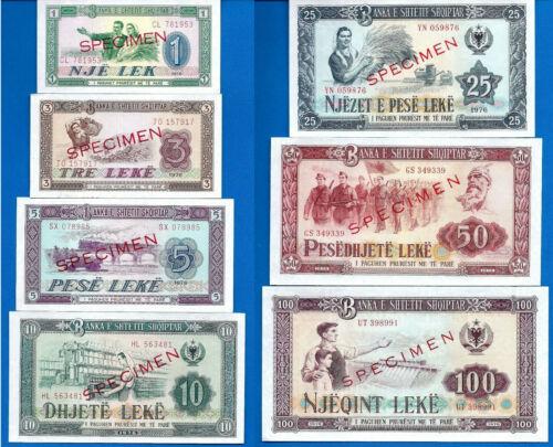 Albania Specimen 1, 3, 5, 10, 25, 50, 100 LEKE Uncirculated Banknotes Set # 7
