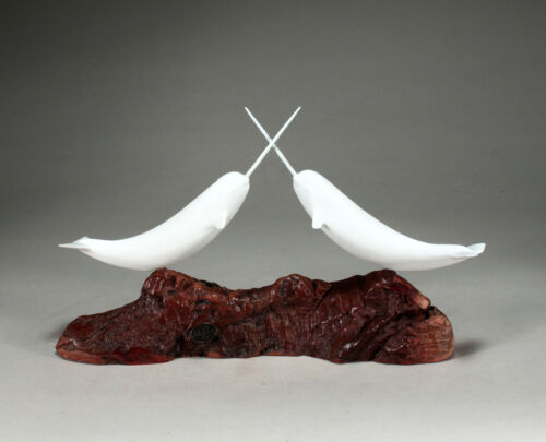 "NARWHAL PAIR  ""JOUSTING"" Sculpture NEW direct from JOHN PERRY 14in long  Decor"