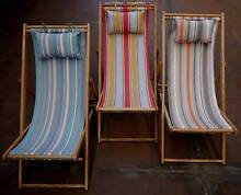 New Timber Sun Lounge Striped Deck Chairs Outdoor Furniture Melbourne CBD Melbourne City Preview